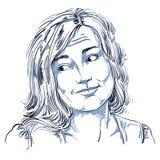 Monochrome vector hand-drawn image, blameworthy young woman. Bla Royalty Free Stock Photos