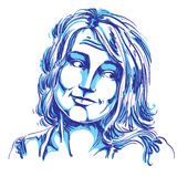 Monochrome vector hand-drawn image, blameworthy young woman. Stock Photography