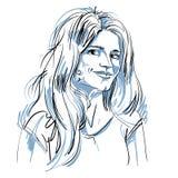 Monochrome vector hand-drawn image, flirting young woman. Black Royalty Free Stock Photo