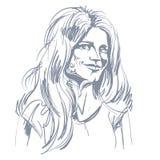 Monochrome vector hand-drawn image, flirting young woman. Black Royalty Free Stock Photos