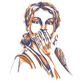 Monochrome vector hand-drawn image, shocked young woman. Artisti Stock Photography