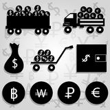 Monochrome vector illustration of financial icons Stock Image