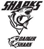 Monochrome vector illustration of a toothy shark Stock Photos