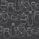 Monochrome vector illustration of utensils for dairy products Stock Photo