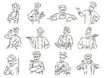 Monochrome vector illustration of whiskered chef isolated on white background stock illustration