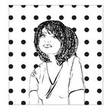 Monochrome vector illustration of a young woman, girl sketch. Royalty Free Stock Images