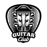 Monochrome vector logo template ple trum and guitar Stock Images