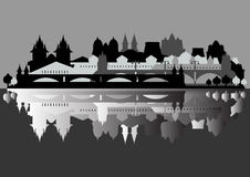 Monochrome vector: old European city is reflected  Stock Image