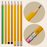 Monochrome vector pencils Royalty Free Stock Images
