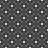 Decorative flower black and white seamless repeated geometric pattern background. Textile, books, vector illustration
