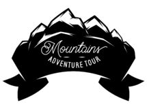 Monochrome vector template with stylized inscription, mountains. Editable for design royalty free stock photos