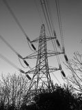 Monochrome view of an electricity pylon at dusk. A black and white image on an electricity pylon at dusk with bare trees at the base Stock Photo