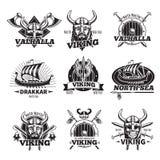 Monochrome Viking Labels Set Stock Image
