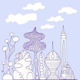 Monochrome, ville fantastique colorée, style de croquis de bande dessinée Photo stock