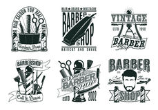 Monochrome Vintage Barber Shop Logos Set. With inscriptions haircut equipment tools and accessories isolated vector illustration royalty free illustration