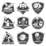 Monochrome Vintage Basketball Labels Set. With players game equipment cup sneakers and shirt isolated vector illustration Royalty Free Stock Images