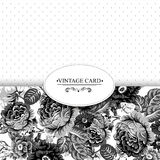 Monochrome Vintage Floral Card with Roses Stock Photo