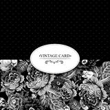 Monochrome Vintage Floral Card with Roses Royalty Free Stock Images