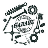 Monochrome Vintage Garage Tools Round Concept Royalty Free Stock Photos