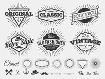 Monochrome vintage logo, badge, label for t-shirt screen and printing with starburst, arrow, scissors, axe, anchor, ribbon, hat