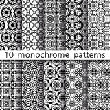 10 monochrome vintage patterns for universal background. Black and white colors. Endless texture can be used for wallpaper, pattern fill, web page background Royalty Free Stock Image