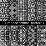 10 monochrome vintage patterns for universal background. Black and white colors. Endless texture can be used for wallpaper, pattern fill, web page background Royalty Free Illustration