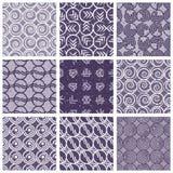Monochrome violet retro style tiles. Royalty Free Stock Photos