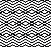 Monochrome visual abstract textured geometric seamless pattern. Symmetric black and white vector textile backdrop. Intertwine composition Royalty Free Stock Photo