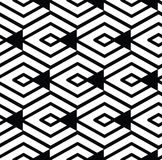 Monochrome visual abstract textured geometric seamless pattern. Royalty Free Stock Images