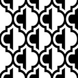 Moroccan vector seamless black and white design, tile repetitive pattern, geometric background. Monochrome wallpaper background inspired by ceramic tiles from Stock Images