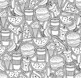 Monochrome wallpaper with food and drinks. Stock Photos