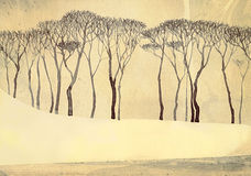 Monochrome winter landscape. Bare trees on quiet lake. Monochrome winter landscape depicted on toned textured paper. Tall bare trees on gentle snow-covered shore Royalty Free Stock Photos