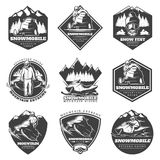 Monochrome Winter Sport Extreme Labels Set Royalty Free Stock Photos