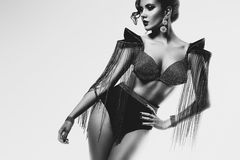 Monochrome woman with cone bra with rhinestones Stock Photos