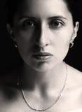 Monochrome woman portrait. On the black background Stock Photo