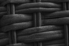 Monochrome Wooden wicker texture of basketwork for background use.  Royalty Free Stock Photography