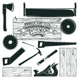 Monochrome woodworking icon. Set of woodworking, sawmill and carpentry and lumberjack elements for vintage logo design, monochrome icons isolated on white Stock Images