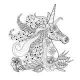 Monochrome zentangle style sketch of unicorn head  Royalty Free Stock Photos