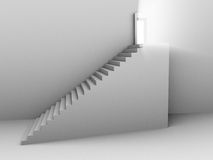 Monochromic 3d rendered image of stair to door Royalty Free Stock Images