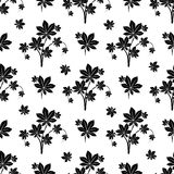 Monochromic botanical seamless pattern Royalty Free Stock Photo