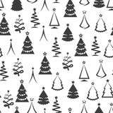 Monochromic christmas tree seamless pattern. In black and white colors. Vector illustration Royalty Free Stock Images