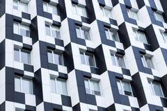 Monochromic cubic minimalistic bauhaus office building facade of Royalty Free Stock Photo