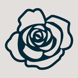 A monochromic icon for the rose flower Royalty Free Stock Photography