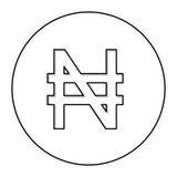 monochromu kontur z waluta symbolem nigeryjski naira w okręgu ilustracja wektor