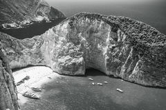 Monochromu krajobraz, Navagio zatoka Obraz Stock