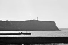 Monochromu krajobraz ujście i morze Obrazy Royalty Free