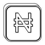 monochromu kwadrata kontur z waluta symbolem nigeryjski naira ilustracja wektor