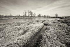 Monochromu ujawnienia rzeki Długi krajobraz Zdjęcie Stock