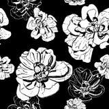 Monochromu wzór biały i czarny atrament kwitnie ilustracji
