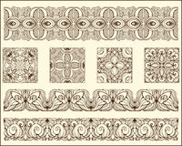 Monochrrome floral patterns blocks and stripes Royalty Free Stock Image